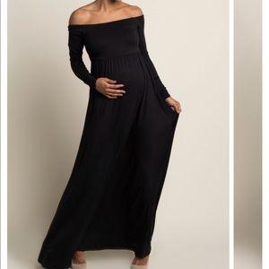 Black Off the Shoulder Maternity Dress - Size M